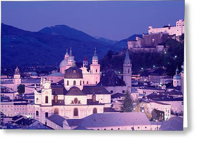 Hilltop Scenes Greeting Cards - Austria, Salzburg, Panoramic View Greeting Card by Panoramic Images