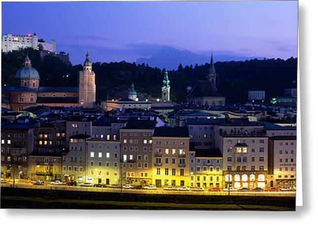 Salzburg Greeting Cards - Austria, Salzburg, Salzach River Greeting Card by Panoramic Images