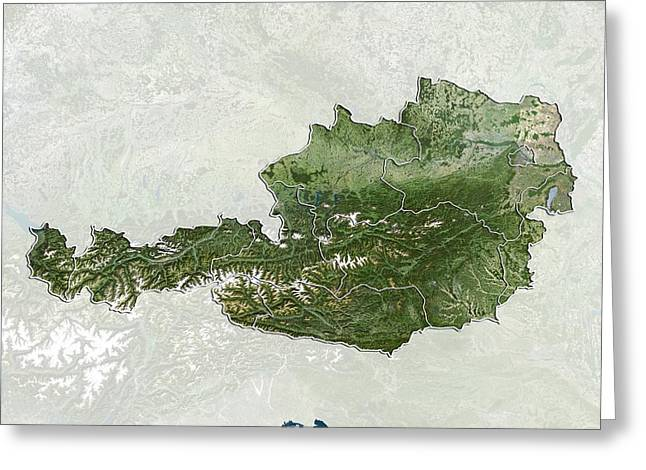 Styria Greeting Cards - Austria, satellite image Greeting Card by Science Photo Library