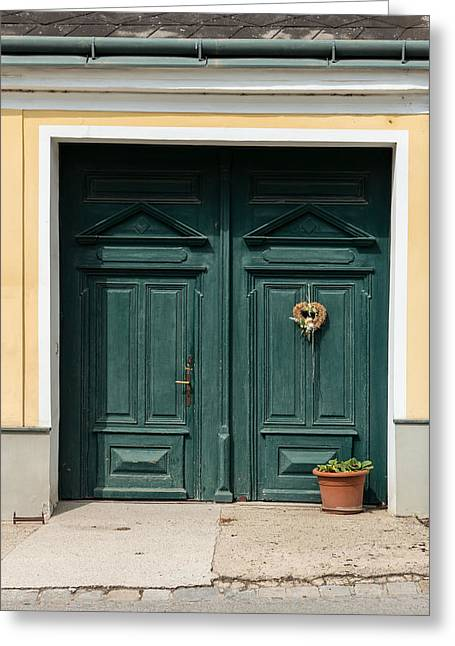 Decorate Greeting Cards - Austria Traditional Village House Door Greeting Card by Menega Sabidussi