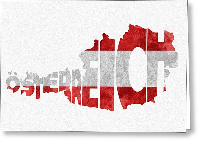 Austria Greeting Cards - Austria Typographic Map Flag Greeting Card by Ayse Deniz