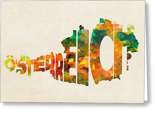 Austria Greeting Cards - Austria Typographic Watercolor Map Greeting Card by Ayse Deniz