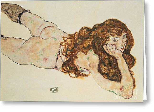 Stomach Greeting Cards - Austria Vienna Female Nude Lying on her Stomach Greeting Card by Egon Schiele