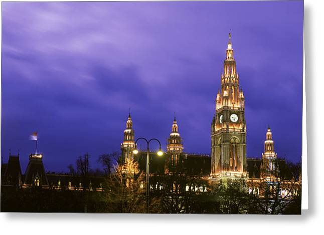 Backlit Greeting Cards - Austria, Vienna, Rathaus, Night Greeting Card by Panoramic Images
