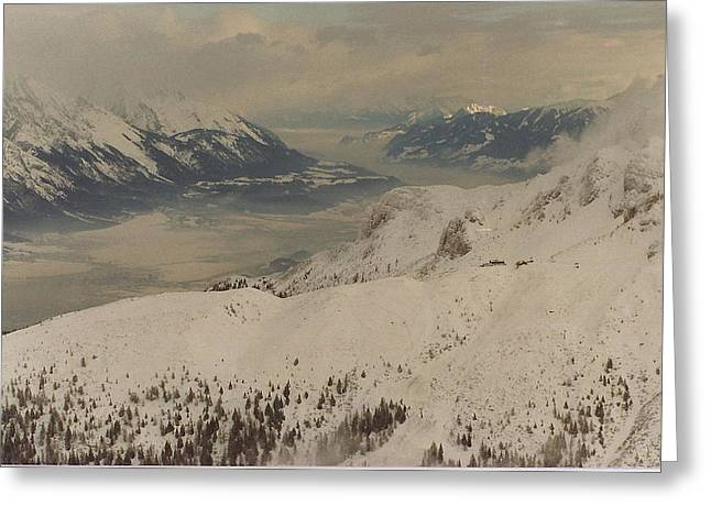 Skiing Prints Greeting Cards - Austrian Alps Greeting Card by Jewels Blake Hamrick