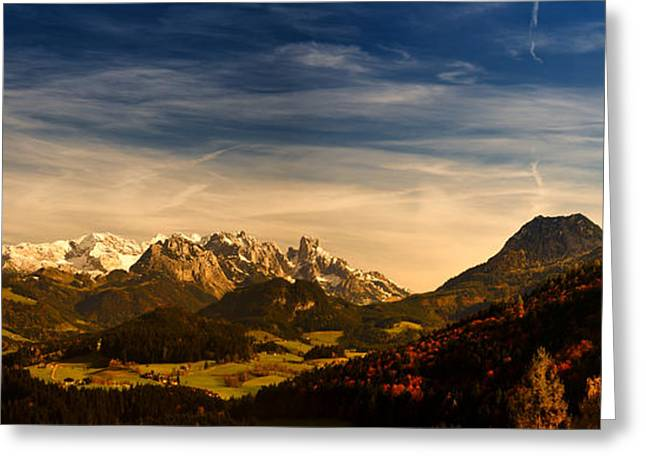 Busybee Greeting Cards - Austrian Autumn Scenic Panorama Greeting Card by Sabine Jacobs