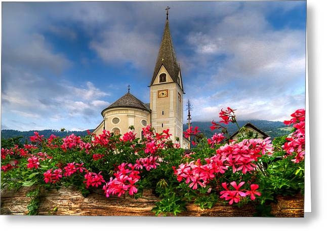 Red Geraniums Greeting Cards - Austrian Church Greeting Card by Debra and Dave Vanderlaan