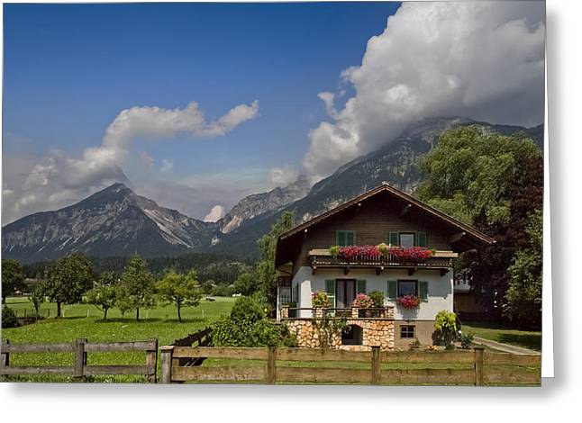 Spring Scenes Greeting Cards - Austrian Cottage Greeting Card by Debra and Dave Vanderlaan