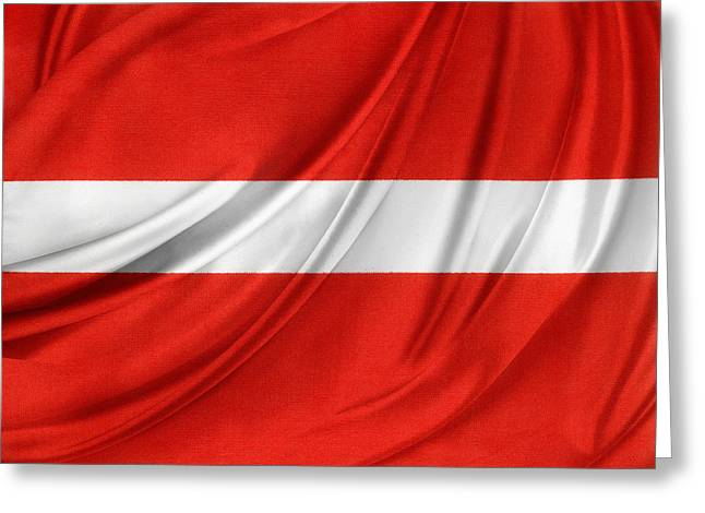 Waving Flag Greeting Cards - Austrian flag  Greeting Card by Les Cunliffe