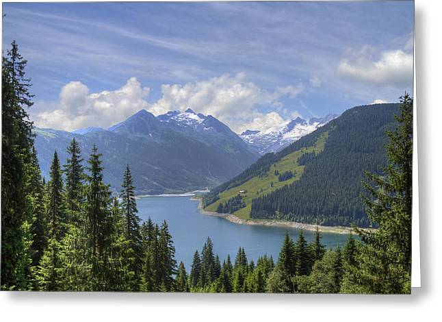 Mountaintop. Trees Greeting Cards - Austrian Mountains Greeting Card by Debra and Dave Vanderlaan