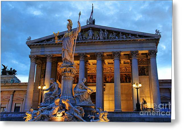 Nike Photographs Greeting Cards - Austrian Parliament Building Greeting Card by Mariola Bitner