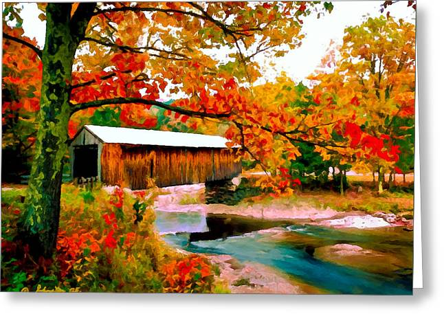 Stream Digital Greeting Cards - Authentic Covered Bridge VT Greeting Card by  Bob and Nadine Johnston