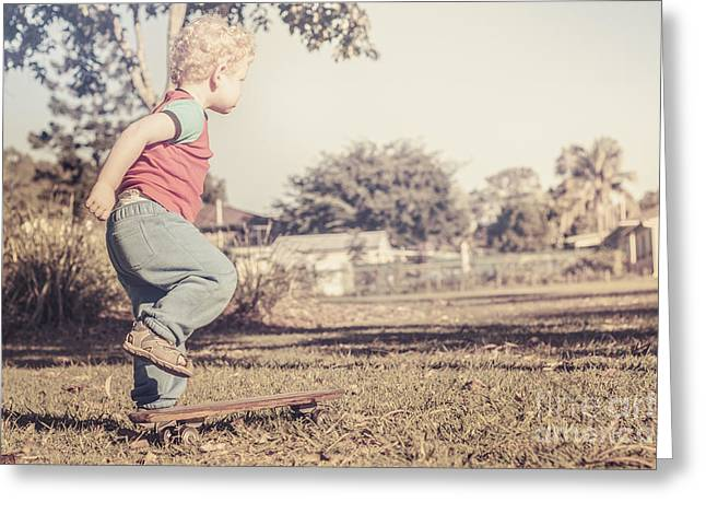 Trial Greeting Cards - Authentic faded brown vintage skater child Greeting Card by Ryan Jorgensen