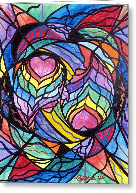 Spiritual Art Greeting Cards - Authentic Relationship Greeting Card by Teal Eye  Print Store