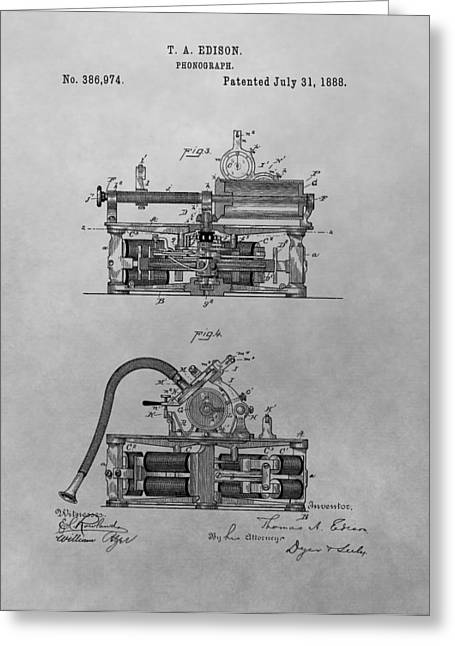 Noise . Sounds Drawings Greeting Cards - Authentic Thomas Edison Phonograph Patent Greeting Card by Dan Sproul