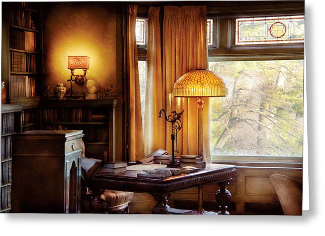 Trees Light Windows Greeting Cards - Author -  Style and Class Greeting Card by Mike Savad