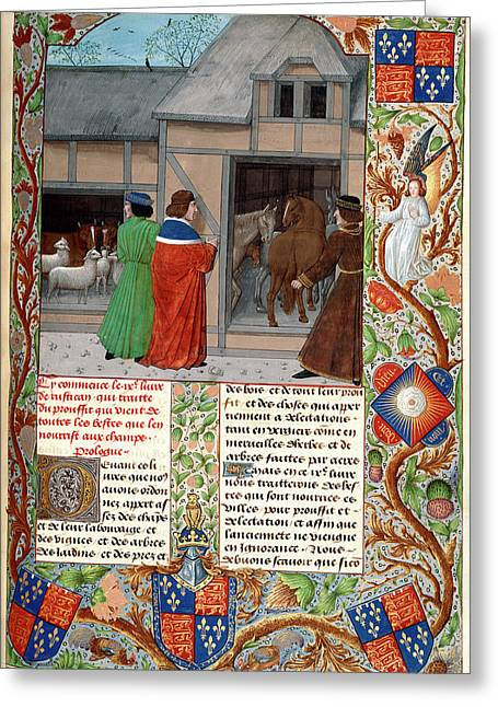 Author With Horses And Sheep Greeting Card by British Library