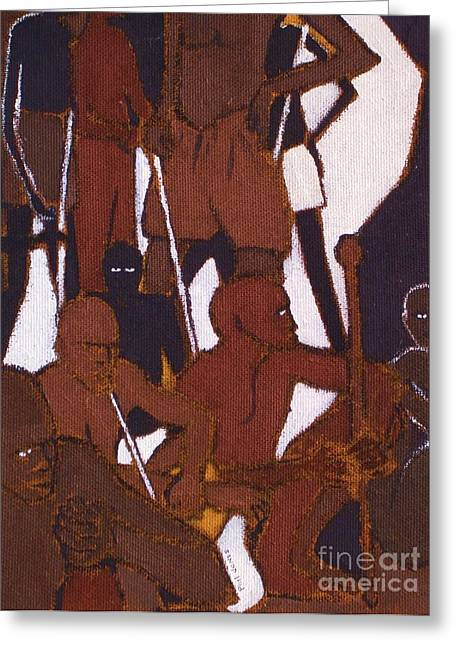 Psalm One Greeting Cards - The Lord Is My Shepherd I Shall Not Want - Psalm 23 1 - African Tribesmen Greeting Card by Philip Jones