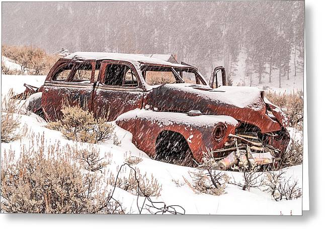 Auto In Snowstorm Greeting Card by Sue Smith