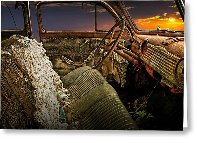 Color Wheel Art Greeting Cards - Auto Interior of Abandoned Vintage Automobile Greeting Card by Randall Nyhof