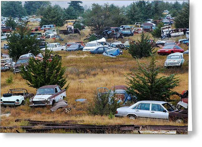 Geobob Greeting Cards - Auto Junk Yard Colby Kansas Greeting Card by Robert Ford