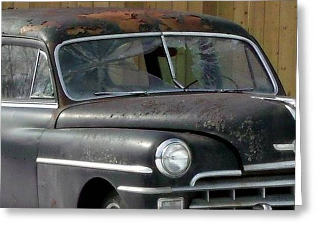Rusted Cars Greeting Cards - Auto Repair Despair Greeting Card by Gail Matthews