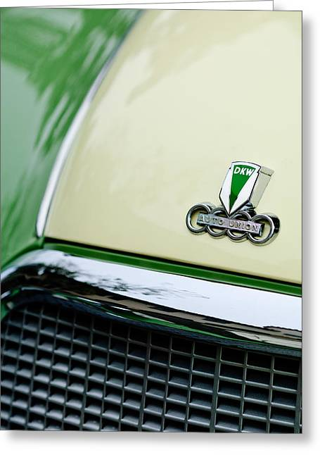 Auto Show Greeting Cards - Auto Union DKW Hood Emblem Greeting Card by Jill Reger