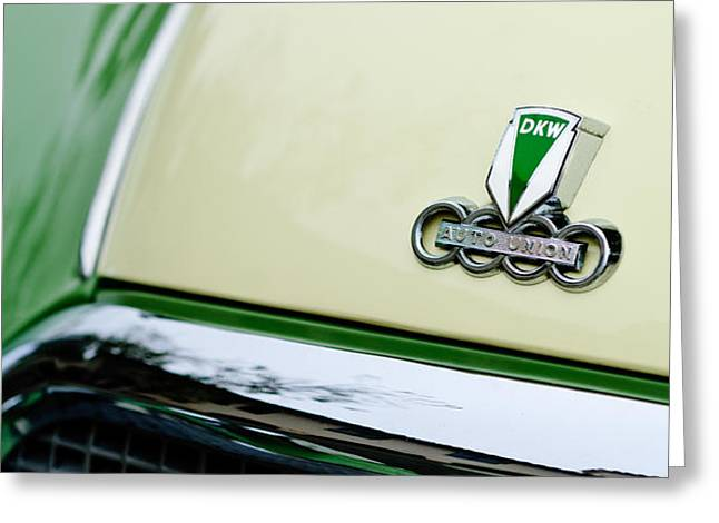 Auto Union DKW Hood Emblem Greeting Card by Jill Reger