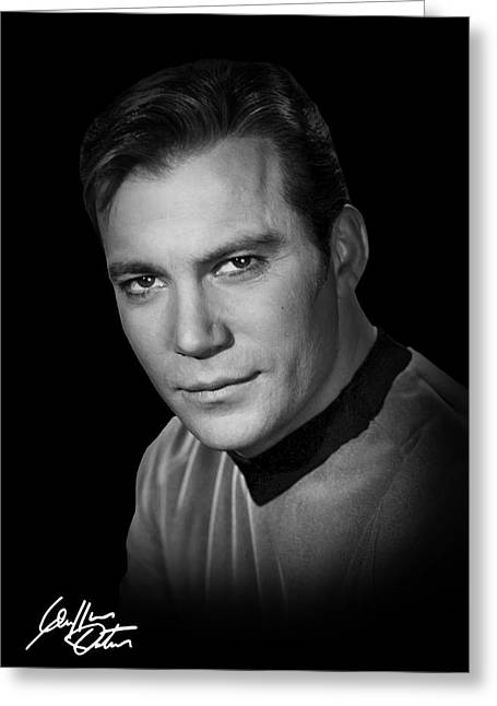 Shatner Greeting Cards - Autographed Kirk Greeting Card by Daniel Hagerman