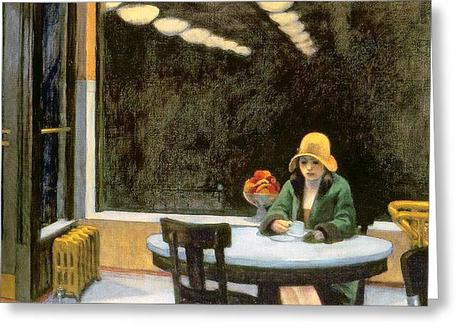 Coffee Drinking Paintings Greeting Cards - Automat Greeting Card by Edward Hopper