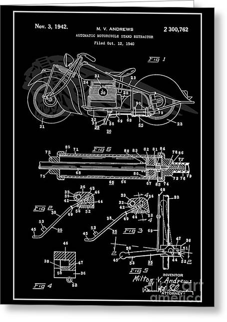 Drawing Of The Factory Greeting Cards - Automate Motorcycle Stand Retractor. Black and White Greeting Card by Brian Lambert