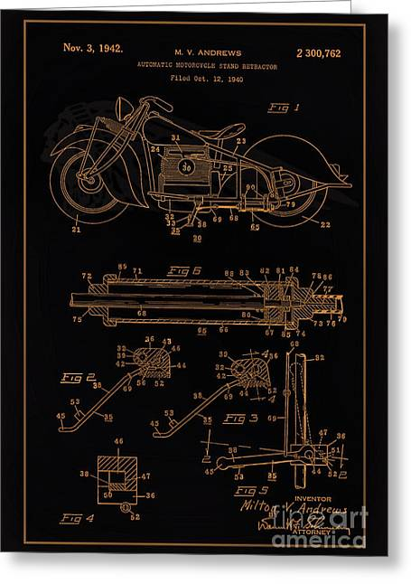 Drawing Of The Factory Photographs Greeting Cards - Automate Motorcycle Stand Retractor Blk Brown Greeting Card by Brian Lambert