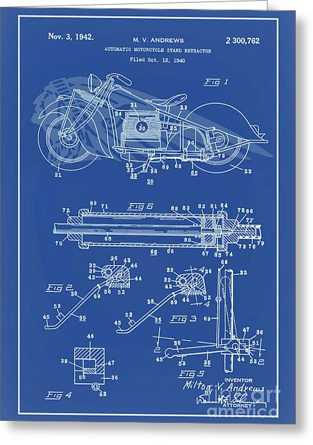 Drawing Of The Factory Greeting Cards - Automate Motorcycle Stand Retractor Lite Blue Greeting Card by Brian Lambert