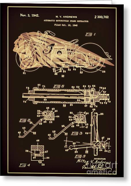 Drawing Of The Factory Greeting Cards - Automate Motorcycle Stand Retractor Red and Black Greeting Card by Brian Lambert