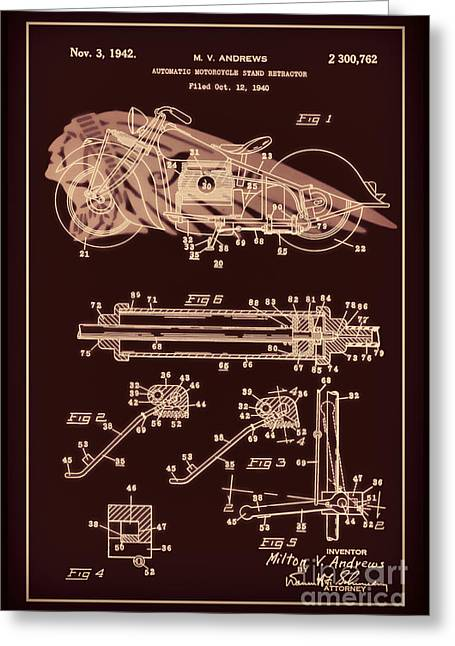 Drawing Of The Factory Greeting Cards - Automate Motorcycle Stand Retractor Red Brown Greeting Card by Brian Lambert