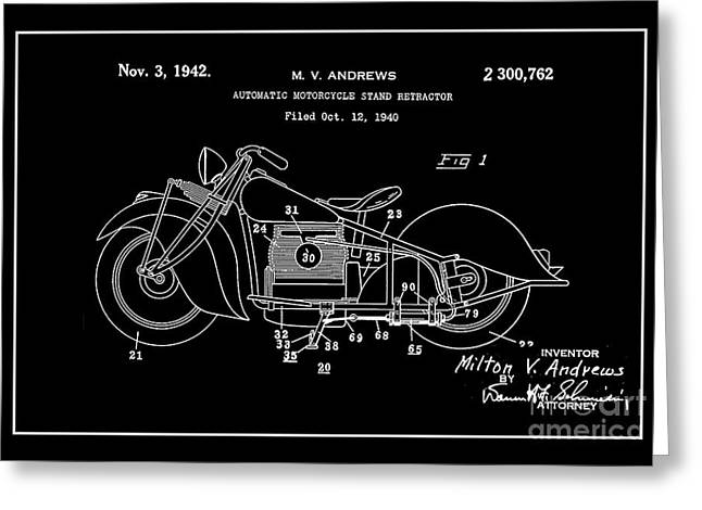 Drawing Of The Factory Digital Art Greeting Cards - Automate Motorcycle Stand Retractor.White Greeting Card by Brian Lambert