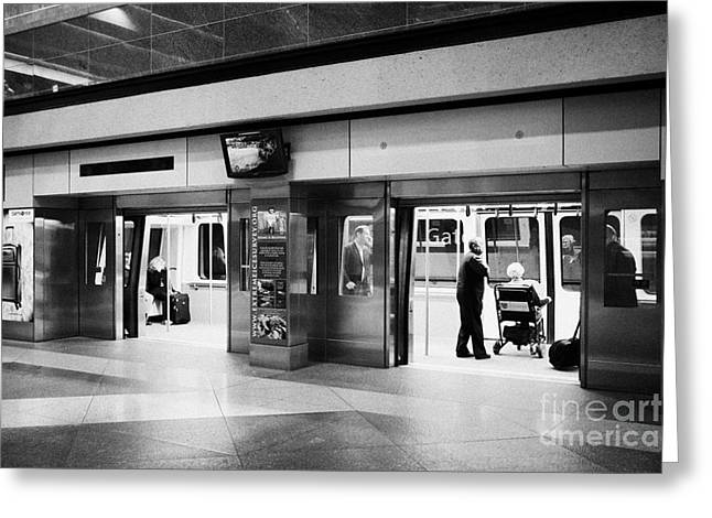 Automated Greeting Cards - automated guideway transit system at Denver International Airport Colorado USA Greeting Card by Joe Fox