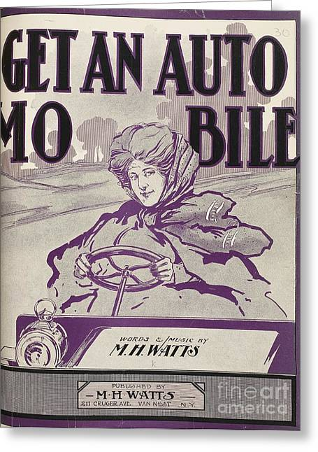 American Popular Culture Greeting Cards - Automobile Musical Songbook, 1906 Greeting Card by British Library