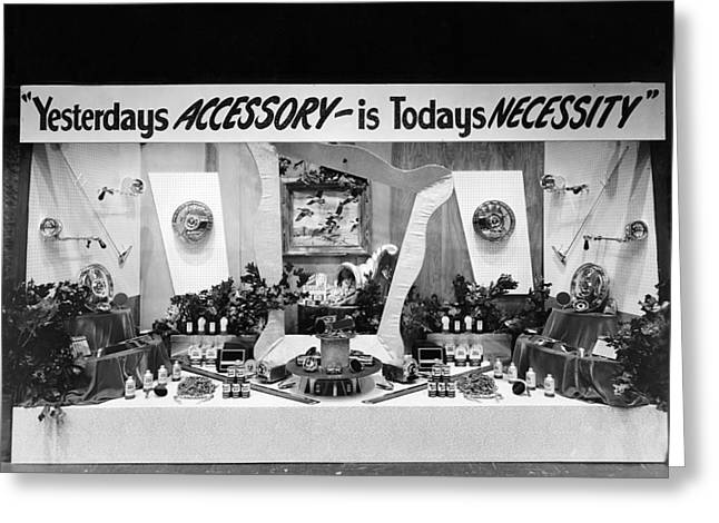 Old Western Photos Greeting Cards - Automotive Accessories Display Greeting Card by Underwood Archives