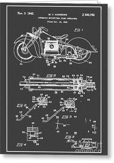 Drawing Of The Factory Greeting Cards - Autonatic Motorcycle Stand Reracor Lit Black Greeting Card by Brian Lambert