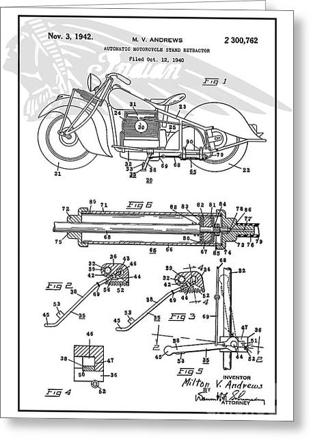 Recently Sold -  - Drawing Of The Factory Greeting Cards - Autonatic Motorcycle Stand Reracor White Ind Greeting Card by Brian Lambert