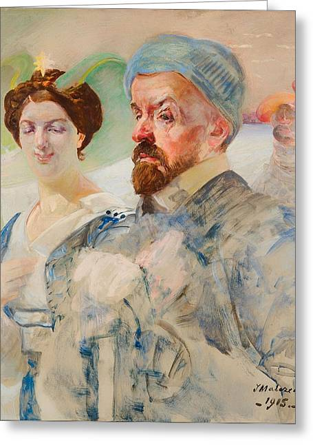Women Together Greeting Cards - Autoportent Greeting Card by Jacek Malczewski