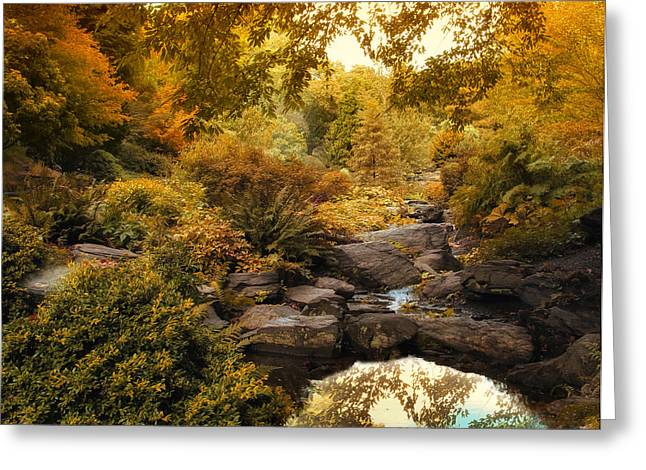 Water Garden Greeting Cards - Russet Rock Garden Greeting Card by Jessica Jenney