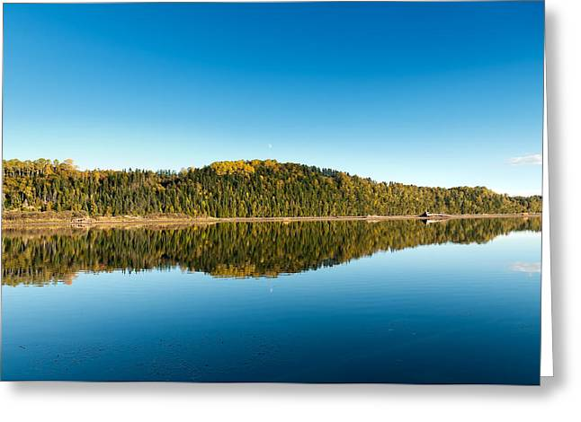 Fall River Scenes Greeting Cards - Autum forest reflection in the ocean  Greeting Card by Ulrich Schade