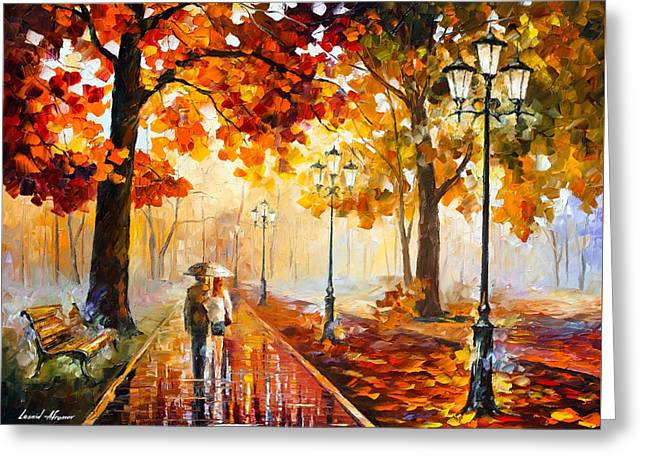 Palette Knife Art Greeting Cards - Autumn Love Greeting Card by Leonid Afremov