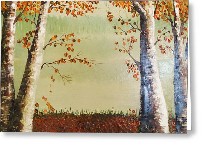 Red Fallen Leave Paintings Greeting Cards - Autum on the Ema river  2 Greeting Card by Misuk  Jenkins