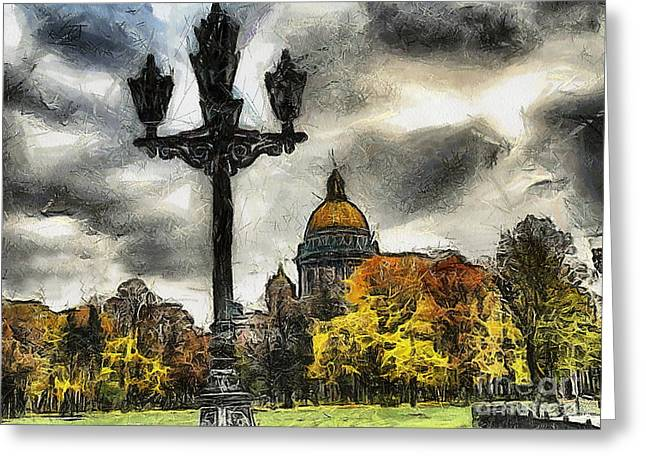 Street Pyrography Greeting Cards - Autum Peterburg Greeting Card by Yury Bashkin