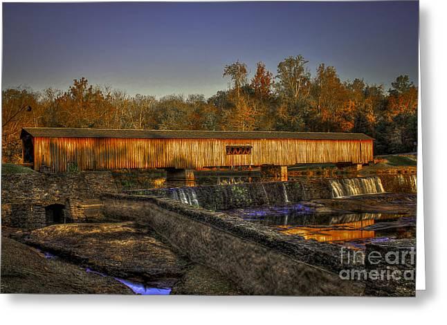 Fall In Georgia Greeting Cards - Autumn Sunrise Watson Mill Covered Bridge 2 Greeting Card by Reid Callaway