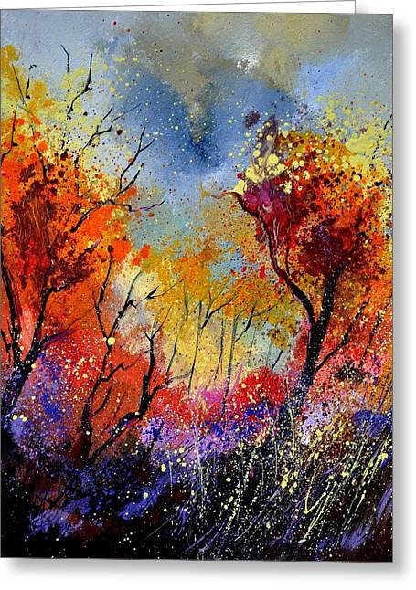 Wooden Ship Paintings Greeting Cards - Autumn 453180 Greeting Card by Pol Ledent