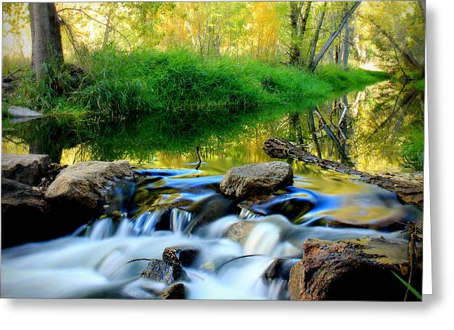 Prescott Greeting Cards - Autumn Above the Falls Greeting Card by Aaron Burrows